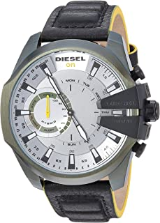 Diesel Men's Stainless Steel Hybrid Watch with Leather Strap, Black, 24 (Model: DZT1012)
