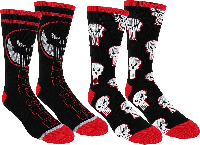 Marvel Punisher Mens Athletic Crew Socks 2 Pair Pack (One Size, Punisher Black)