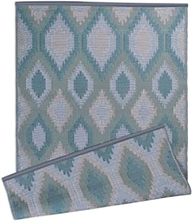 DII Contemporary Indoor/Outdoor Lightweight, Reversible, & Fade Resistant Area Rug, Use For Patio, Deck, Garage, Picnic, Beach, Camping, BBQ, Or Everyday Use - 4 x 6', Green Ikat