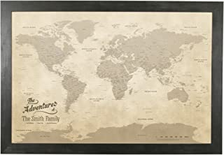 Push Pin Travel Maps Canvas - Personalized Vintage World with Rustic Black Frame
