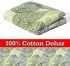 Divine Casa 100% Cotton ReversibleBlanket/Duvet Easyweight, AC Single DOHAR, Floral- Green