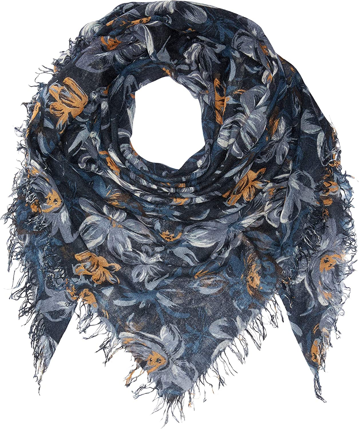Chan Luu Cashmere and Silk Floral Print Scarf Total Eclipse One Size