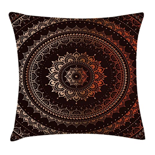 Mandala Decor Throw Pillow Cushion Cover By Ambesonne Ancient Enclosing Magic Circle Middle Eastern Egyptian