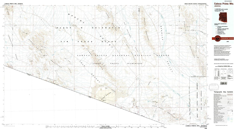 YellowMaps Superlatite Cabeza Genuine Prieta MTS AZ topo 6 Scale 30 1:100000 X map
