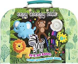My First Safari Kids Sewing Kit. Pre Cut Holes for Easy, Beginning Sewing Sewing Kit for Kids. Unisex Design, Beginners Learn to Sew Set.