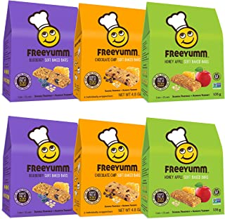 FreeYumm Soft Baked Bars Variety Pack - Chocolate Chip, Honey Apple, & Blueberry - 30 Individually Wrapped 4.8 oz. Bars - ...