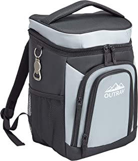 Sponsored Ad - Outrav Grey Backpack Cooler Bag with Bottle Opener – Fully Insulated Thermal 16 Can Tote - Padded Back and ...