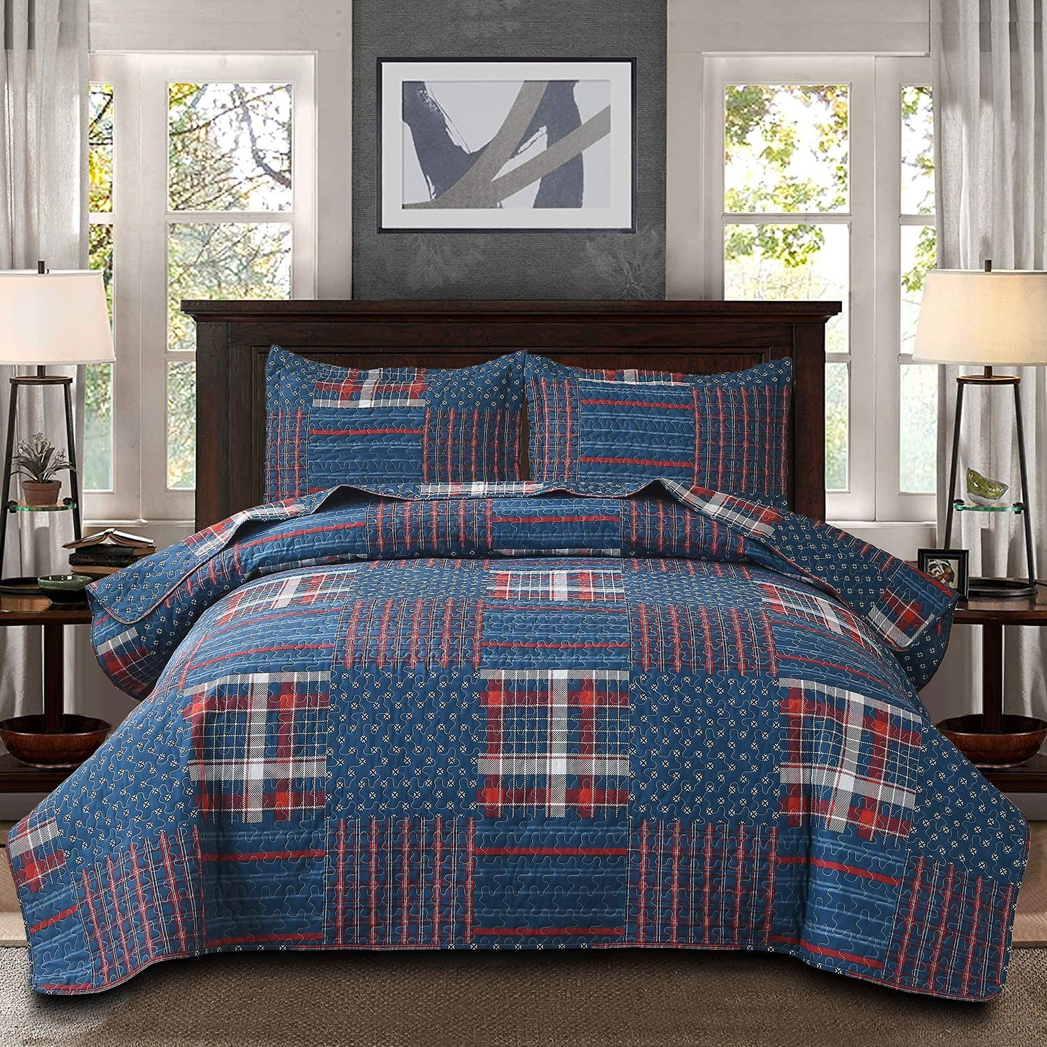 Buy Plaid Quilt Set Bedding Queen Full Size Red Black Plaid Quilt Lightweight Stripe Plaid Bedspreads Home Quilt Plaid Coverlet Reversible Bedspread Coverlet Set Mens Bedspread Set Soft Microfiber Quilt Online In Turkey