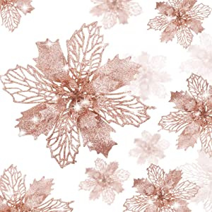 WILLBOND 36 Pieces Christmas Flowers Glitter Poinsettia Artificial Flowers Wedding Christmas Tree New Year Ornaments (Rose Gold)