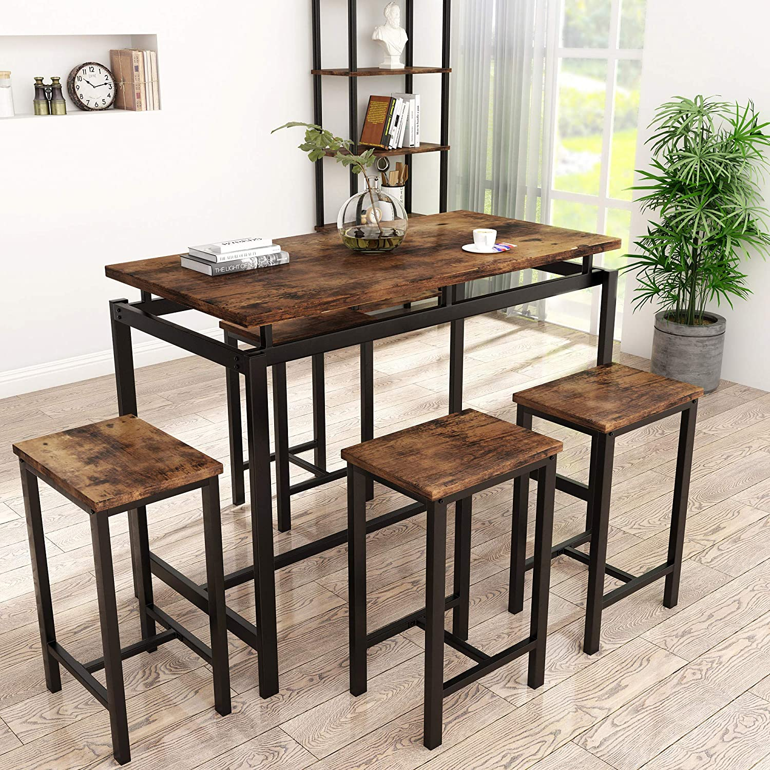 HCWORLD 5 Pieces Dining Set Kitchen and 4 Table Chairs Ba Cheap Large discharge sale super special price with