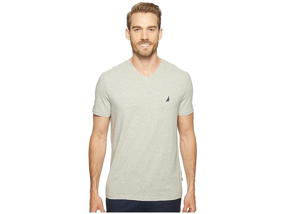 Nautica Slim Fit V-Neck T-Shirt (Grey Heather) Men
