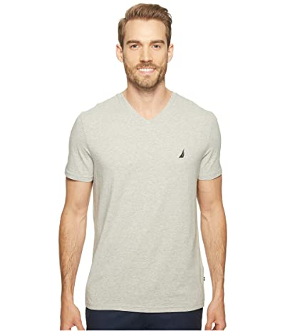 Nautica Slim Fit V-Neck T-Shirt (Grey Heather) Men