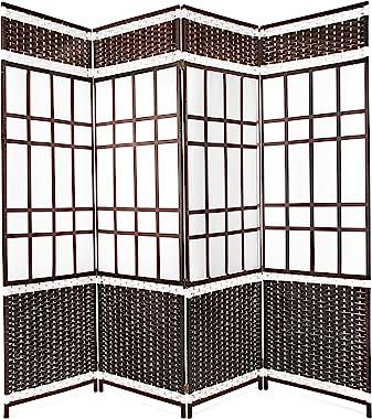 Belvadora Room Divider Screen | Handmade 4 Panel Wood Mesh Black & White Woven Design | Folding Portable Partition Privacy Sc