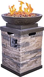 Bond Manufacturing 63172 Newcastle Propane Firebowl Column Realistic Look Firepit Heater Lava Rock 40,000 BTU Outdoor Gas Fire Pit 20 lb, Natural Stone