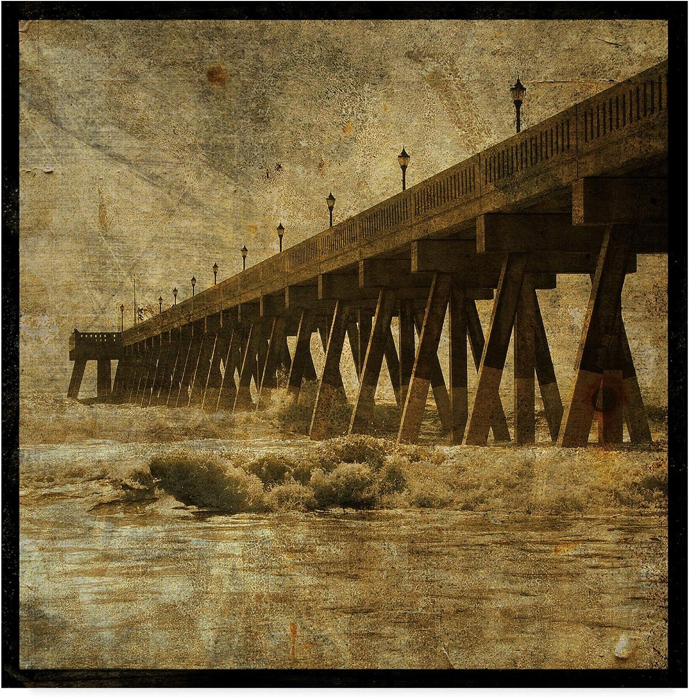Ocean Pier Waves by John W. golden, 14x14-Inch