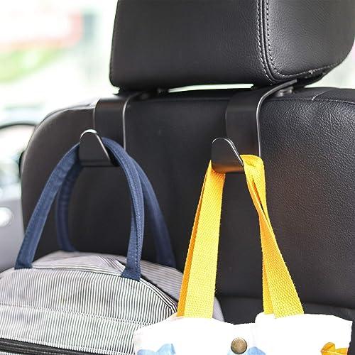 Car Seat Headrest Hook 4 Pack Hanger Storage Organizer Uiversal for Handbag Purse Coat fit Universal Vehicle Car Blac...