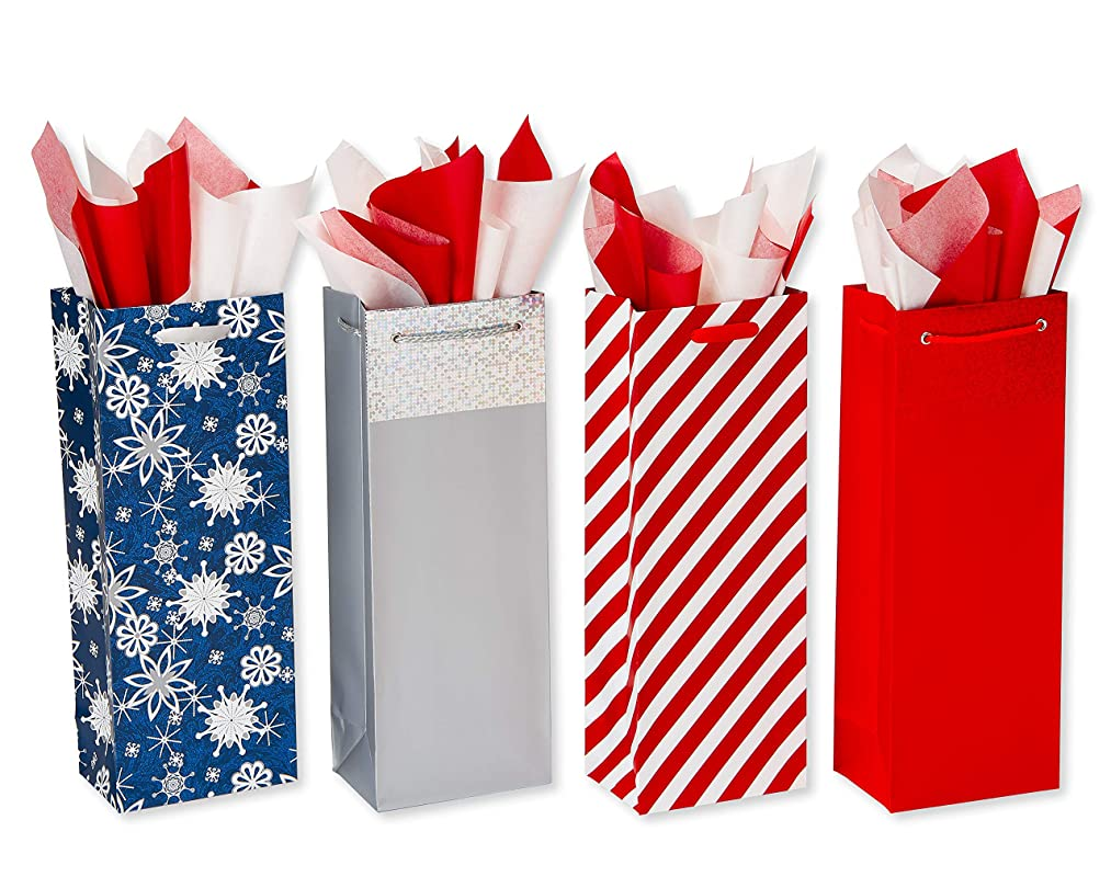 American Greetings Multi Design Wine Gift Bags with Tissue Paper; 4 Gift Bags and 20 Sheets of Tissue Paper