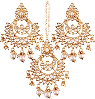 Gold Plated Kundan & Pearl Earring Set with Maang Tikka for Women (TE2498W)