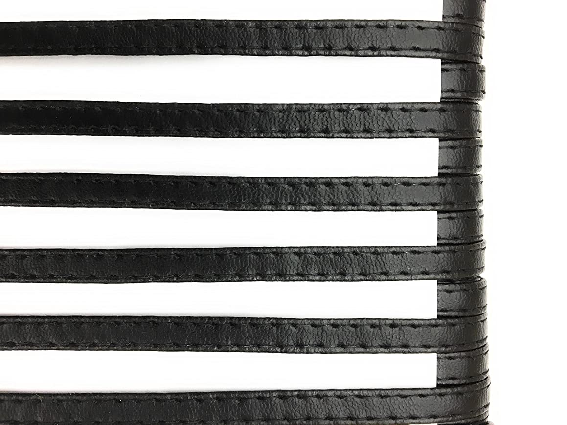 BLACK faux LEATHER STRAPING Trims 1/4