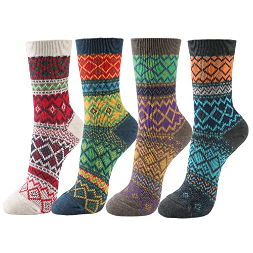 f904aa84ae8d STYLEGAGA Women s Winter Multi-color Cotton Jacquard Knit Ankle Socks