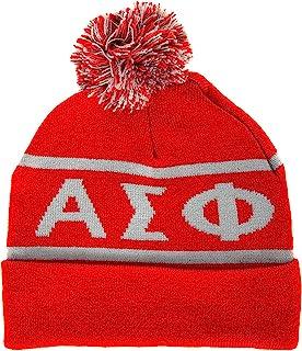Alpha Sigma Phi Letter Winter Beanie Hat Greek Cold Weather Winter Alpha Sig
