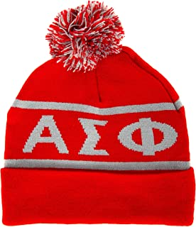 Alpha Sigma Phi Letter Winter Beanie Hat Greek Cold Weather Winter Alpha Sig