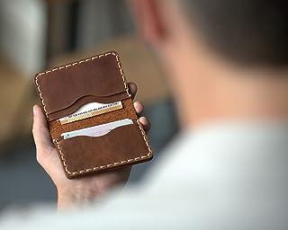 Marrone portafoglio in pelle. Porta Carte di credito, contanti o carta d'identità. Tasca Unisex in stile rustico. Custodie...