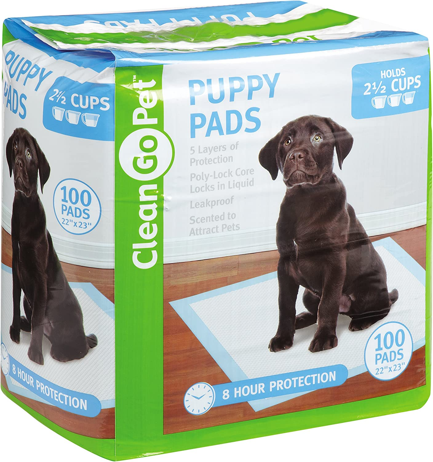 Clean Go Pet ZW5516 89 Puppy Pads, 100PackLeakproof, FiveLayers, EightHour Predection, Scented to Attract Puppies