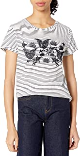 Lucky Brand womens STRIPED PAISLEY FLOCKED TEE T-Shirt