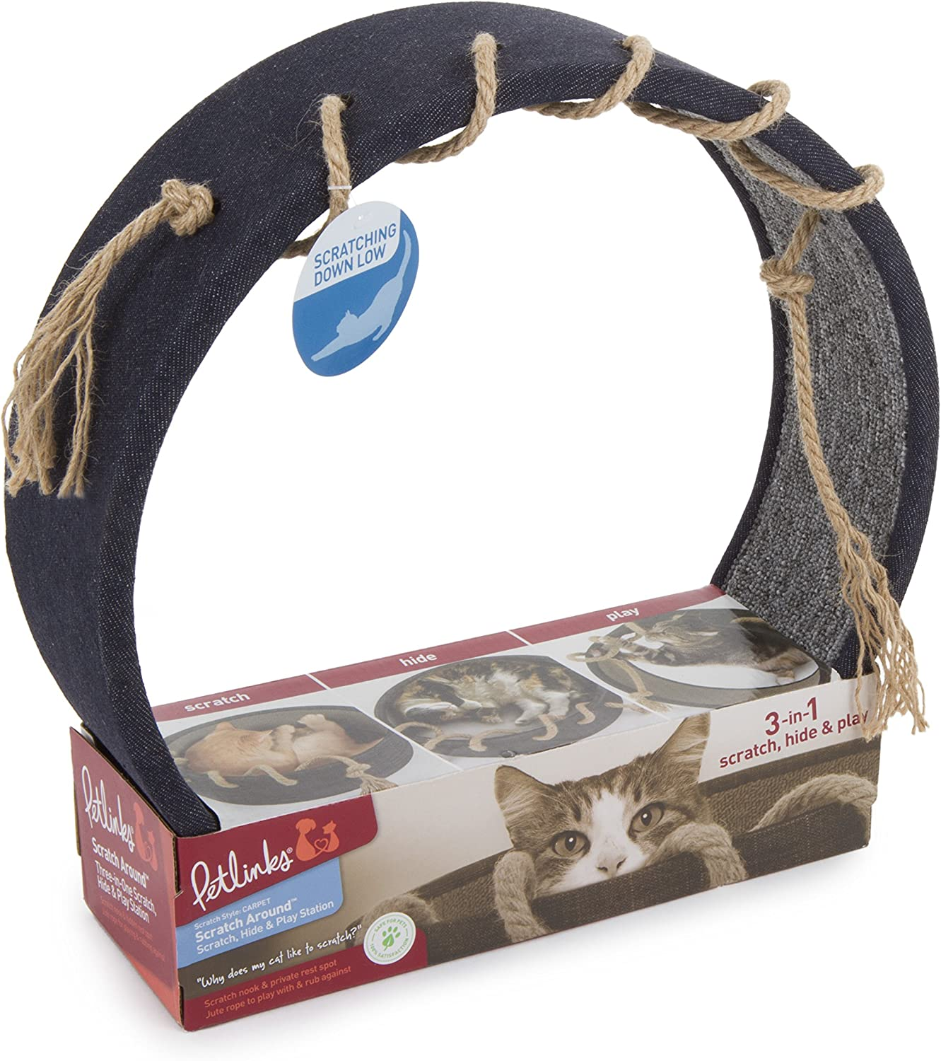 Petlinks 49902 Scratch Around 3in1 Hide & Play Station