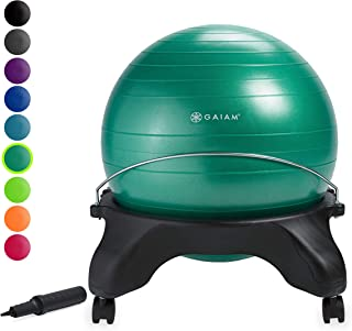 Gaiam Classic Backless Balance Ball Chair – Exercise Stability Yoga Ball Premium..
