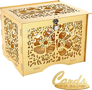 Artmag Wedding Money Box Holder with Sign, Large Rustic Wood Wooden Envelop Gift Card Boxes with Lock Slot for Reception Anniversary Party Parties Gold