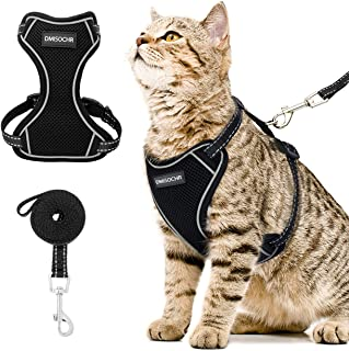 DMISOCHR Cat Harness and Leash Set - Escape Proof Safe Cat Vest Harness for Walking Outdoor - Reflective Adjustable Soft M...