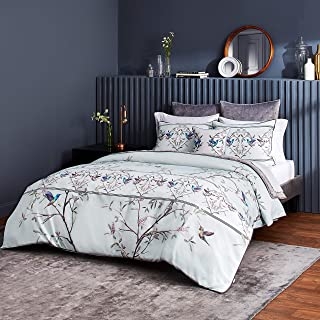 Ted Baker Highgrove 2-Piece Cotton Sateen Duvet Cover Set w/Shams, Flower Design, 68ʺW x 88ʺL, Twin, Mint Green