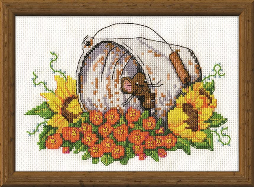 Tobin 2951 14 Count Bucket Mouse Mini Counted Cross Stitch Kit, 5