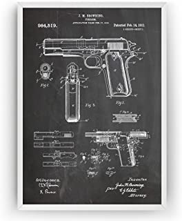 1911 Handgun Patent Print Art Gift Merchandise Poster Vintage Old Original Blueprint Rifle Firearms Collector Owner Wall Decor - Frame Not Included