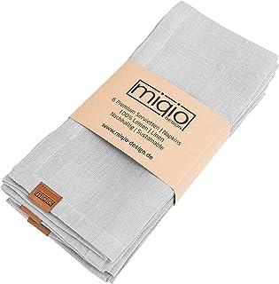 Miqio® Servilletas de lino de alta calidad | 100 % lino de Francia | marca de piel auténtica | juego de 6 servilletas | la...