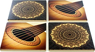 Set of 4 Wooden Coasters - Music - Guitar - Notes