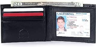 Men's RFID Blocking Genuine Leather Slim Bifold Wallet, Black, One Size