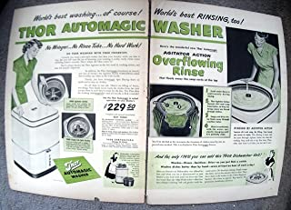 1949 Thor Laundry+Dish Washing Combo Machine Original 2 Page13.5 * 10.5 Magazine Ad
