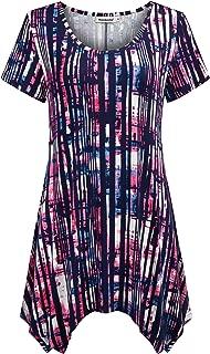Nandashe Women Short Sleeves Tunic Shirts Casual Scoop Neck Floral Irregular Hem Blouses Tops