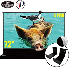 VIVIDSTORM S PRO Ultra Short Throw Laser Projector Screen,Black Housing Motorized Floor Rising Screen 72 inch Ambient Light Rejecting Screen with a Set of Black Wall Brackets VSDSTUST72H