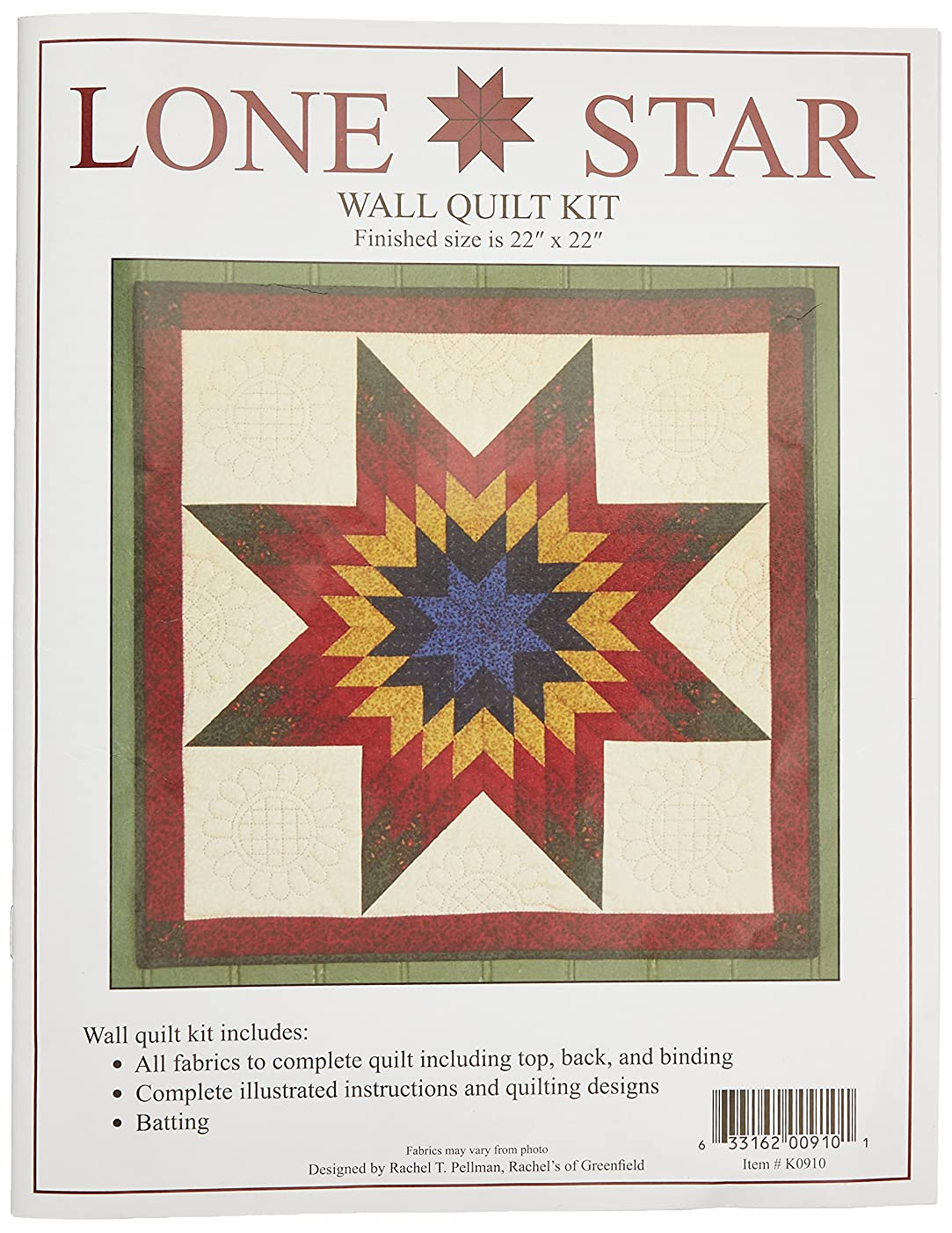 Rachel's Of Greenfield Lone Star Wall Quilt kit, Multi-Color