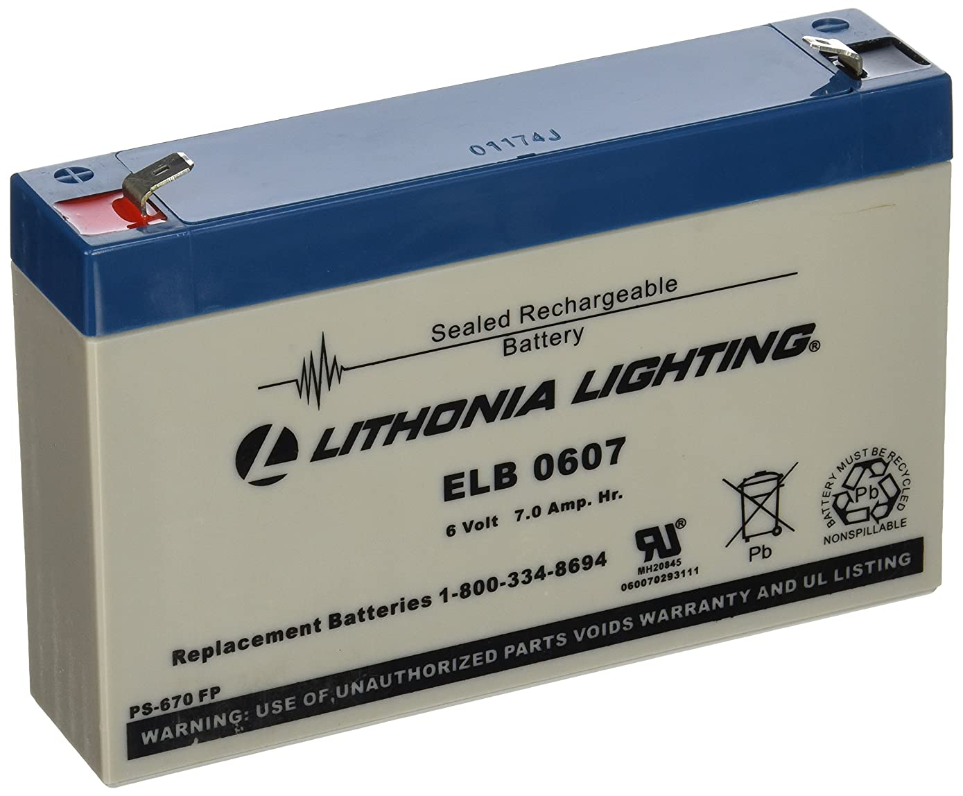 Lithonia Lighting ELB 0607 6V Emergency Replacement Battery