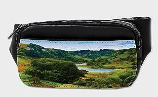 Lunarable Nature Bumbag, New Zealand Autumn River, Fanny Pack Hip Waist Bag