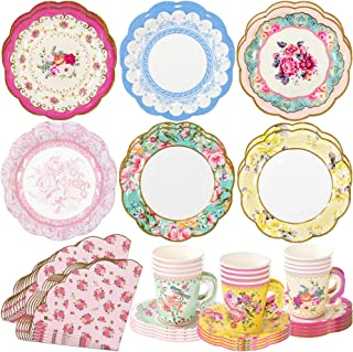 Talking Tables Vintage Floral Tea Party Supplies | Scalloped Paper Plates, Napkins, Tea Cups and Saucer Sets | Also Great for Wedding Parties, Bridal Shower, Baby Shower and Birthday Party