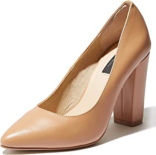 Women's Chunky Heel Round Toe Ankle Strap Pumps Shoes