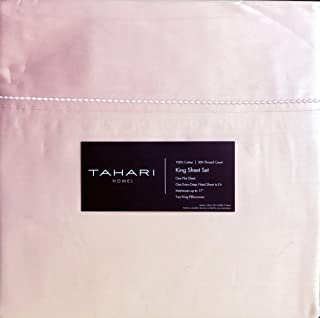 Tahari Bedding 4 Piece Cotton King Embellished Hem Sheet Set Solid Blush Pink 300 Thread Count TC