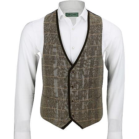 Mens Vintage Herringbone Tweed Check Velvet Trim Retro Waistcoat Oak Brown Grey [Chest UK 36 EU 46,Brown]