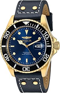 Men's 'Pro Diver' Quartz Stainless Steel and Leather Watch, Color:Blue (Model: 22076)